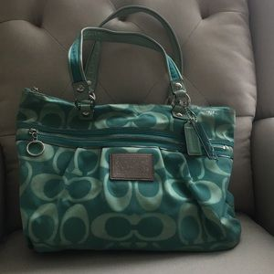 Large Teal Coach Tote